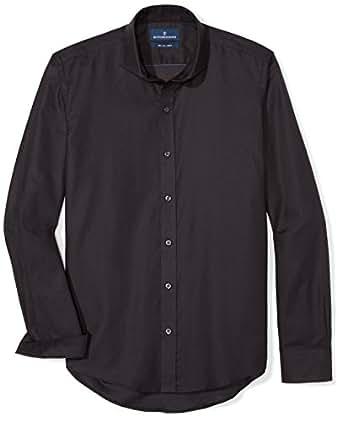 "Buttoned Down Men's Slim Fit Supima Cotton Cutaway-Collar Sport Shirt, Black, 14-14.5"" Neck 32-33"" Sleeve"
