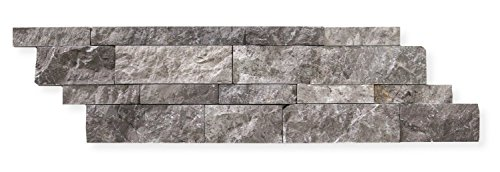 Silverado Gray Marble 6 X 20 Stacked Ledger Wall Panel Tile, Split-faced (SMALL SAMPLE PIECE) (Fireplace Stone Tile)