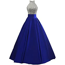 HEIMO Women's Sequined Keyhole Back Evening Party Gowns Beaded Formal Prom Dresses Long H123 4 Royal Blue
