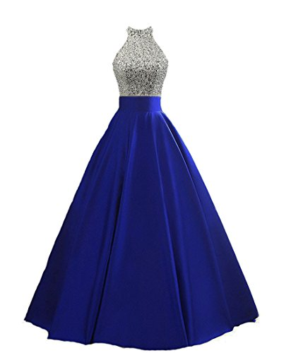 Party Keyhole - HEIMO Women's Sequined Keyhole Back Evening Party Gowns Beaded Formal Prom Dresses Long H123 16 Royal Blue