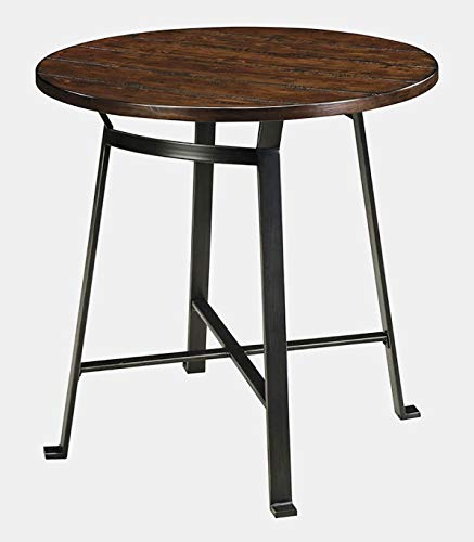 Pine Wood Dining Table with Metal Frame - Round Pub Dining Table - Pine/Black 36' Glass Pub Table