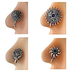 monde éblouissant Presenting Very Classy Multi Colour Press On Combo Pack Nose Ring/Nose Stud/Pin for Women/Girls
