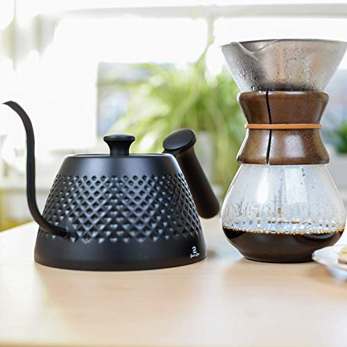 Jake & Leo Pour Over Kettle - Premium Stylish Dimpled Design, Stainless Steel - Gooseneck Specialty Kettle for Kitchen Stovetop - 34oz, Matte Black, Long Spout for Boiling, Pouring; Brew Coffee & Tea by Jake & Leo (Image #6)