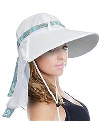 Sun Blocker Women's Sun Hat Wide Brim UPF50+ Beach Fishing Gardening Neck Flap Cap