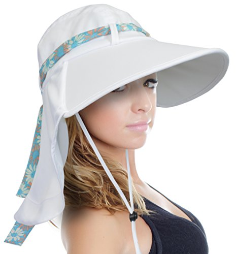 Sun Blocker Women's Sun Hat Large Brim Beach Travel Fishing Hat with Neck Flap, White, One Size