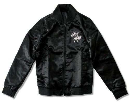 Satin Bubble Black (Juniors Lady Gaga Skeleton Bubble Black Satin Jacket (Small))