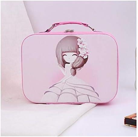 YouNITE 女性カートンプロフェッショナルメイクアップ化粧品袋トラベルオーガナイザーケースに必要なトイレタリー収納ボックスポータブルスーツケースバッグ (Color : Pink, Size : 23x16x9cm(small))