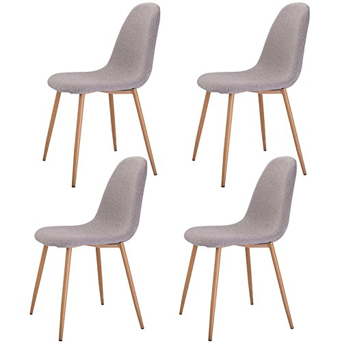Set of 4 New Contemporary Mid Century Modern Ergonomic Back Design Flannelette Cover Side Chair Beech wood Legs Grey #814 (Lounge Chairs Pool Target)