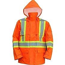 Open Road 150D Hi-Viz Waterproof Safety Rain Jacket, Fluorescent