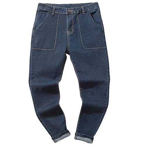 Pantalones Rotos Largos Vaqueros Pantalones ZARLLE Vaqueros De Moto De Hombres Pantalones De Deportivos con Bolsillos Slim Fit Skinny EláSticos Desgarrados Jeans para Hombres Azul