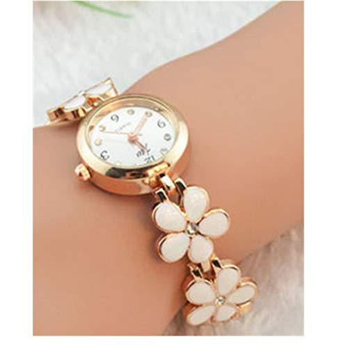 Ikevan Newest Fashion Daisies Flower Rose Gold Bracelet Wrist Watch Jewelry Bangle Gift for Women Girls (White)