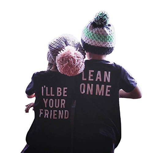 (Mini Angel Infant Baby Best Friend Letter Print Short Sleeve Print Tops T-Shirt Blouse Clothes Outfit (Black#2, 100(3-4 Years)))