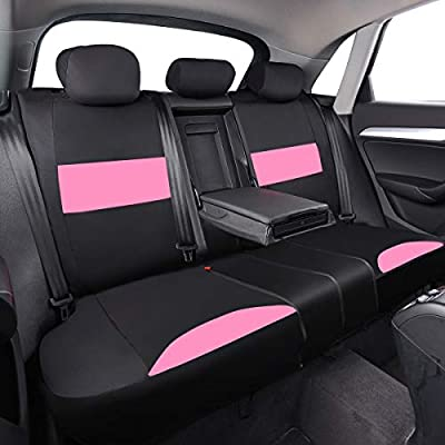 CAR PASS 11PCS Insparation Butterfly Universal Fit Car Seat Covers Set Package-Universal fit for Vehicles,Cars,suvs,vansAirbag Compatiable (Black with Pink): Automotive