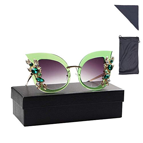 Keypower Womens Oversized Sunglasses Cat Eye Jeweled Stylish Design with Diamond (Green)