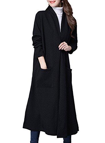 (オッサエプ)OASAP レディース カーディガン アウター コート 綿麻 大きいサイズ 長袖 カジュアル ロング丈 ゆったり シンプル 快適 無地 秋冬 着回し