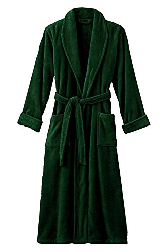 Spa and Resort Terry Bathrobe. Full Length 100% Turkish Cotton. Colors Available (Hunter (Green Mens Robe)