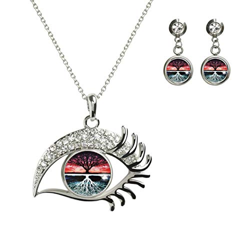 XuSuJuan Image Custom Design Charm Crystal Rhinstone Silver Plated Glass Eye Pendant Necklace Stud Earrings (A New Way of Thinking About The Tree of Life)
