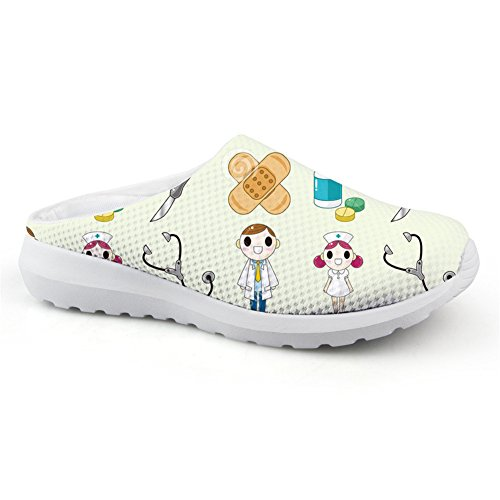 for Cartoon Printed Coloranimal Clogs Womens Nurse Mule 8 Sandals Pattern Nurse On Slip Backless wX66dqf