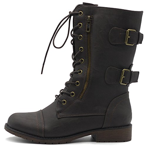 Ollio Women's Shoes Faux Leather Buckle Zipper Accent Lace Up Combat Ankle Boots Brown