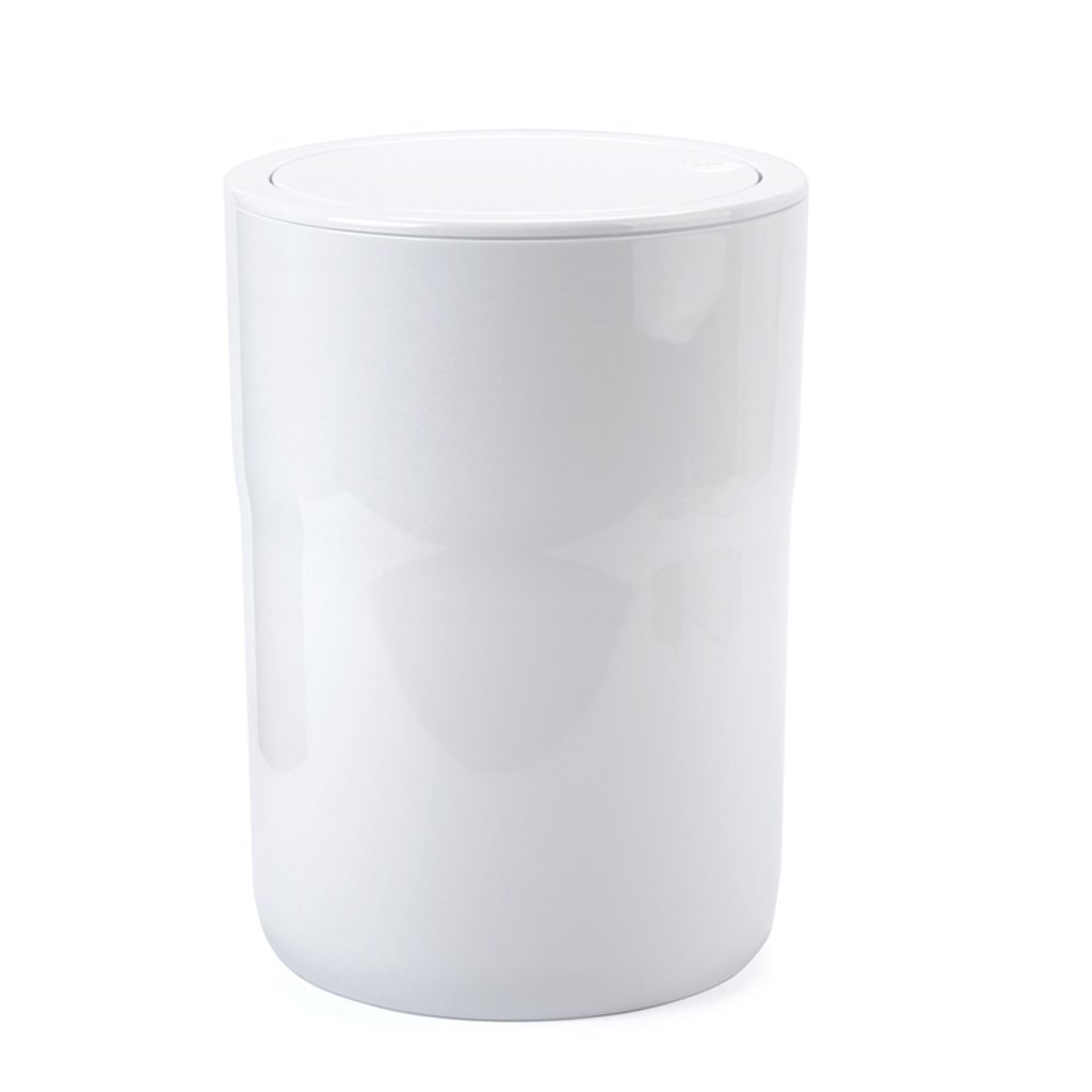 Trash can Trash Can Glossy PS Plastic Trash Can Sanitary Bucket 5 Liters Waste Bin (Color : White)