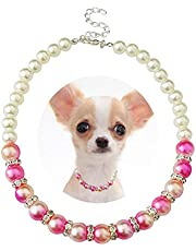 PET SHOW Pink Small Dogs Necklace Faux Pearl Rhinestone Female Cat Puppy Doggies Jewelry Grooming Accessories