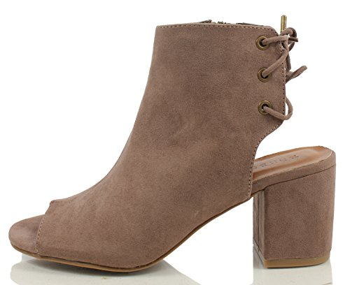 Bamboo Women's Faux Suede Open Toe Open Back with Lace Up Tie Closure Chunky Heek Ankle Boot