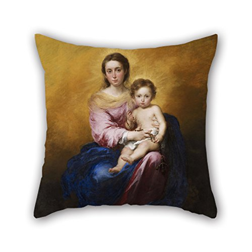 PILLO Throw Pillow Case Of Oil Painting Murillo, Bartolomà EstÃban - The Madonna Of The Rosary 18 X 18 Inches / 45 By 45 Cm,best Fit For Family,monther,dining Room,office,wife,family Two Sides