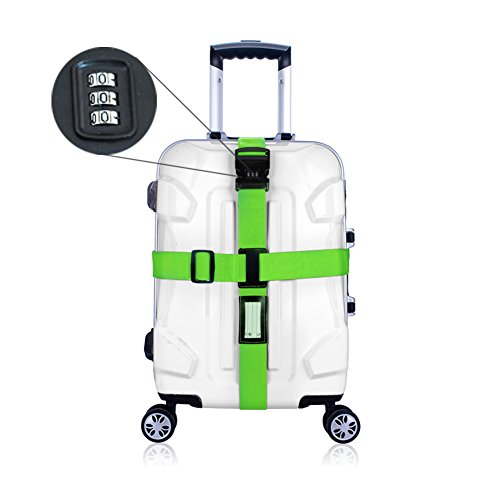 BlueCosto (Green) Luggage Strap w/ Lock Long Cross Travel Suitcase Belt Superior Strength Non-slip 800051-GRE