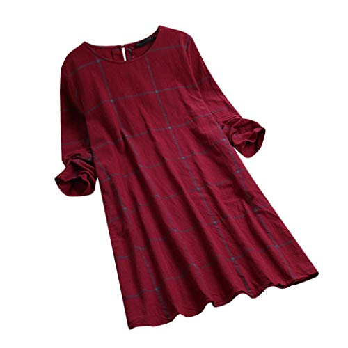 (Kehen Women Casual Swing Long Sleeve Plaid T-Shirt Loose Dress Red XXX-Large (US:18))