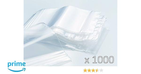 Bolsas de plastico con cierre zip - 80mm x 120mm - 1000 piezas(10x100) - 50 micras - Apta para el contacto alimentario