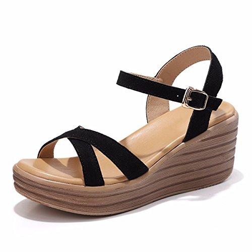 QPSSP Zapatos De Cuero Con Tacones Y Sandalias. black