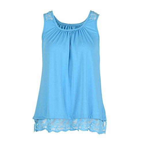 k T-Shirt Sleeveless Tops Pure Color Lace Plus Size Vest Loose Blouse ()
