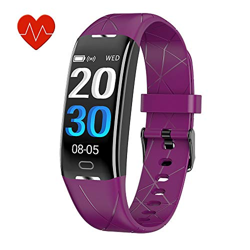 KEEPONFIT Fitness Tracker, Activity Tracker Watch with Heart Rate Monitor, IP68 Waterproof Pedometer Watch Smart Fitness Band with Step Counter for Kids Women and Men (Purple)