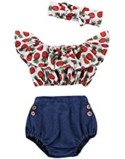 Mitlfuny Niños Recién Nacido Camisetas de Manga Corta Jeans Conjunto de Verano Ropa Cintura Alta Florales Blusas para Bebé Niña Niño Tops + Mezclilla Pantalones Cortos + Banda de Pelo 0-3 Años