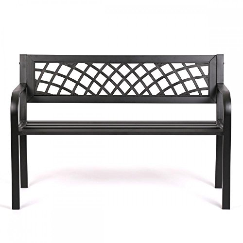 Patio Park Garden Bench Porch Path Chair Outdoor Deck Steel Frame Bonus free ebook By Allgoodsdelight365 (Chairs Long Garden Beach Oasis)