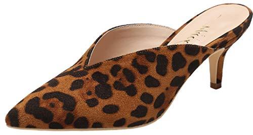 Mackin J G224-1 Women Pointed Toe Slip On Kitten Low Heel Mules Pumps Slides Leopard 6.5 ()
