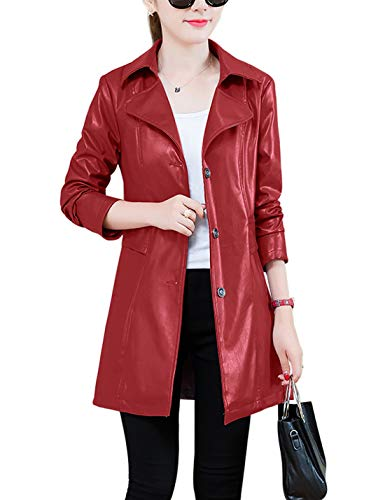 Red Leather Coat - Jenkoon Women's Notch Lapel PU Leather Long Coat Jacket Single Breasted Trench Coat Jacket (Red, Medium)