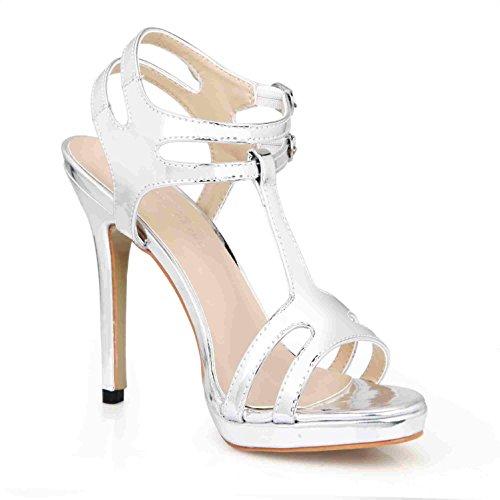 Best 4U® Sandalias de verano de mujer Bombas de cuero de patente Peep toe 12CM Tacones altos Slingbacks Zapatos de goma de la suela de la boda , Silver , EU36