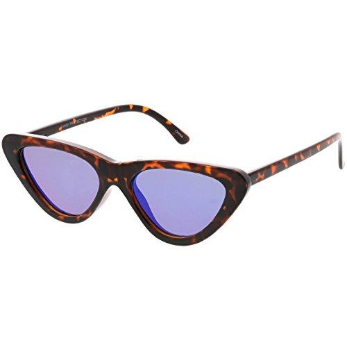sunglassLA - Women's Small Thick Cat Eye Sunglasses Colored Mirror Flat Lens 51mm (Tortoise / Blue - Glasses Tortoise Colored