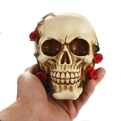 Creative Resin Rose Skull Statues Halloween Party Home Tabletop Decorations 4.5 Inch Skeleton Head Figurines -