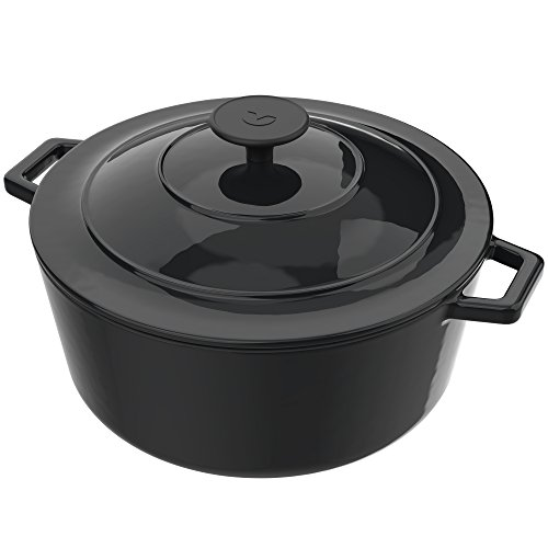 Vremi Enameled Cast Iron Dutch Oven Pot with Lid – 6 Quart Capacity for Preparing Low and Slow Cooking Meals – Electric Gas Stove Top Oven Compatible Cookware – Deep Large Ovenproof – Black