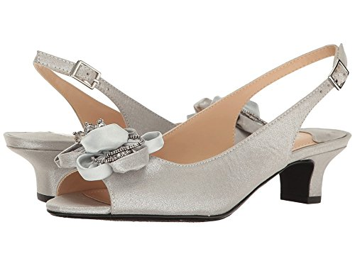 J. Renee Women's Leonelle Low Heel Open Toe Slingback,Silver for sale  Delivered anywhere in USA