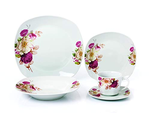 Lorren Home Trends LH427 Dinner Sets for gatherings, One Size, Pink