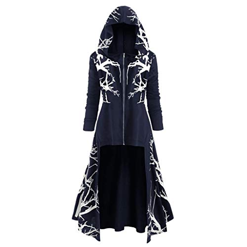 RAINED Women Plus Size Zipper Dress Tree Print Halloween Coat Fashion Hooded Irregular Hem Casual Cloak Blouse Tops ()