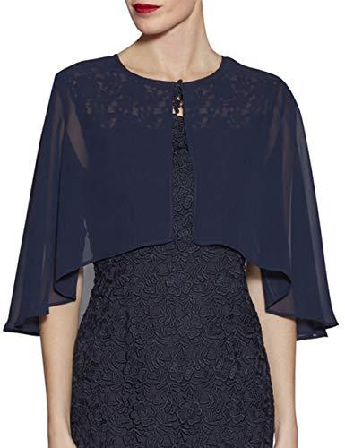 LANSITINA Chiffon Shrug Wraps for Evening Bridal Party Plus Size Soft Open Front Back Capes Cloaks