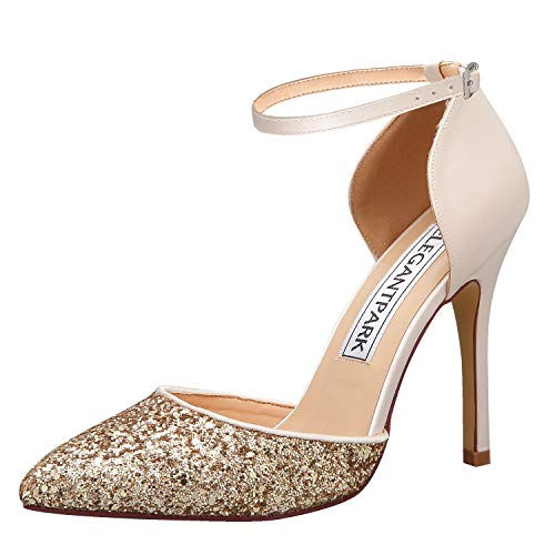 - ElegantPark HC1902 Women High Heel Pumps Pointed Toe Ankle Strap Wedding Bridal Evening Party Dress Shoes Satin Glitter Champagne US 7