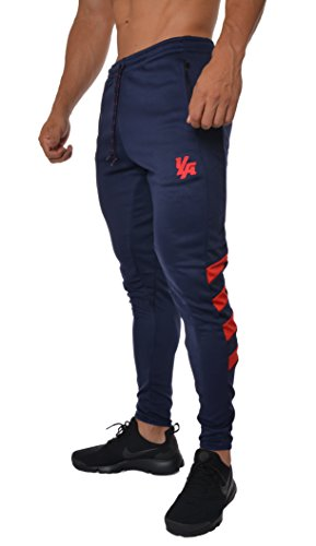 YoungLA Mens Soccer Training Pants Tapered fit 5 Colors 201 Small Navy/red ()