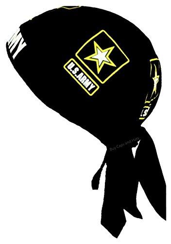 Army Doo Rag Black Motorcycle Skull Cap Cotton Head Wrap Durag ()