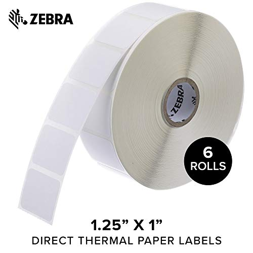 - Zebra - 1.25 x 1 in Direct Thermal Paper Labels, Z-Perform 2000D Permanent Adhesive Shipping Labels, Zebra Desktop Printer Compatible, 1 in Core - 6 Rolls