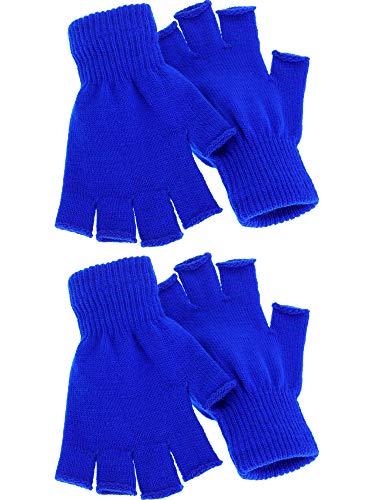 Satinior 2 Pair Unisex Half Finger Gloves Winter Stretchy Knit Fingerless Gloves in Common Size (Blue)